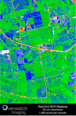 Real world wide area NDVI mapping. 20 cm resolution, 1,000 acres per minute.  (Photo: Business Wire)