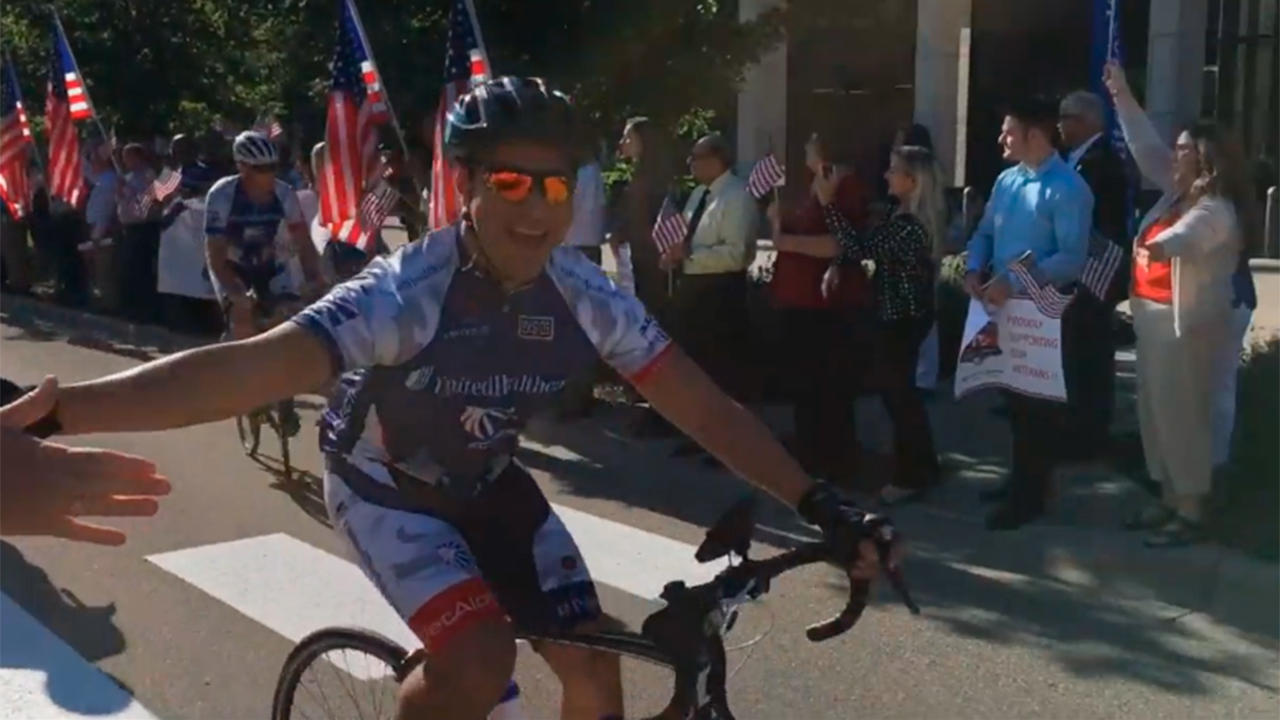 B-Roll of more than 150 wounded veterans and supporters departing UnitedHealthcare headquarters in Minnetonka, Minn., to begin their 500-mile journey from Minneapolis to Chicago as part of the UnitedHealthcare Great Lakes Challenge (Video: Kevin Herglotz).