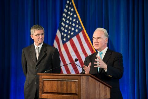 Dr. Tom Price, Secretary, U.S. Department of Health and Human Services addressed the Seqirus staff with Gordon Naylor, President, Seqirus. (Photo: Seqirus)