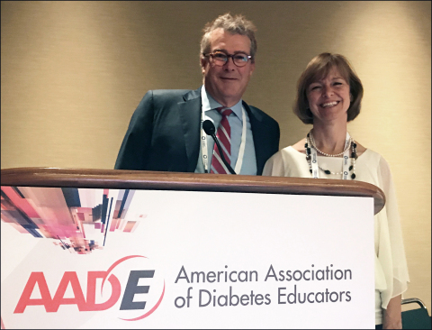 Dr. Bruce Bode and Lisa Kiblinger of Atlanta Diabetes Associates delivered a presentation on diabetes decision support solutions at this year's American Association of Diabetes Educators (AADE) conference. (Photo: Business Wire)