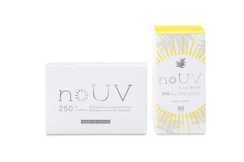 noUV [Price: 1,800 yen (excluding tax) / Capacity: 10 capsules] & noUV Care White [Price: 9,800 yen (excluding tax) / Capacity: 90 capsules] (Photo: Business Wire)