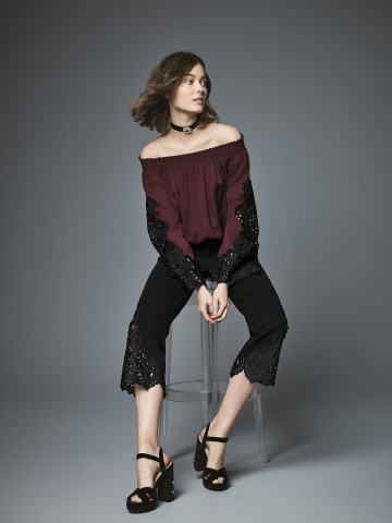 The KOBI Collection, created for Macy's by contemporary designer Kobi Halperin, is available now on the Macy's app, and will be in 149 stores and on macys.com on August 15; lace embroidered off-the-shoulder top, $99; Lace embroidered pants, $99 (Photo: Business Wire)
