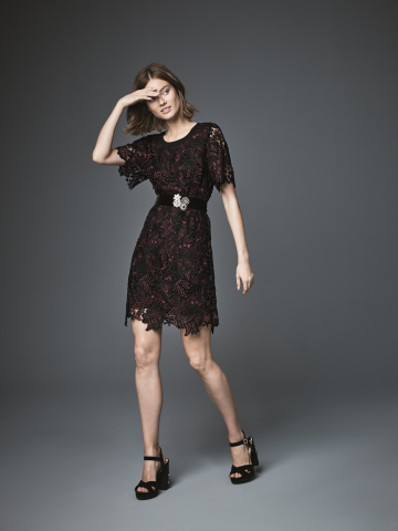The KOBI Collection, created for Macy's by contemporary designer Kobi Halperin, is available now on the Macy's app, and will be in 149 stores and on macys.com on August 15; Bell-sleeve lace dress, $159 (Photo: Business Wire)
