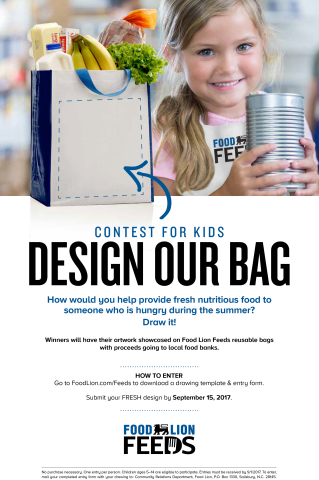 """Food Lion Feeds Invites Kids to """"Roar Against Hunger"""" by Participating in Design-a-Reusable-Bag Contest through Sept. 15 (Photo: Business Wire)"""