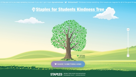 Help grow the Staples for Students Digital Kindness Tree at www.StaplesKindnessTree.com or by tweeting with hashtag #GrowKindness. On the website or Twitter, describe an act of kindness that you recently performed, witnessed or pledge to do. Each time an act of kindness is reported, a 'leaf' will be added to the tree, which will continue to grow throughout the summer. (Photo: Business Wire)