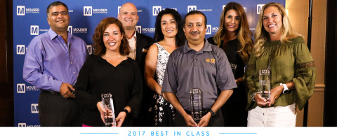 Mouser Electronics awards its 2017 Best-in-Class recipients. Pictured from left to right are Sumit Awasthi, Renée Dill, Adam Osmancevic, Jen Lintner, Mandar Deshpande, Catherine Côté, and Tammy Stine. (Photo: Business Wire)