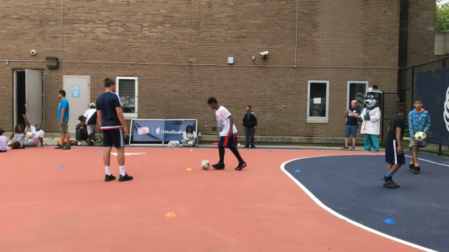 UnitedHealthcare, Revolution Academy and Scott Caldwell, midfielder for the New England Revolution, hosted a soccer clinic for the Boys & Girls Clubs of Boston this afternoon to showcase the NERF ENERGY Game Kits, a limited release game that tracks physical activity and rewards kids for being active. UnitedHealthcare is delivering a total of 10,000 NERF ENERGY Game Kits this year to elementary schools and community organizations across the country, enabling children ages six to 12 to receive the kits at no cost (Video: Anita Sen).