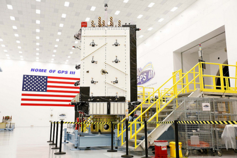 Harris navigation payloads already are integrated in the second GPS III space vehicle, now in environmental testing, and the first GPS III satellite (pictured here), expected to launch in 2018. (Photo: Business Wire)