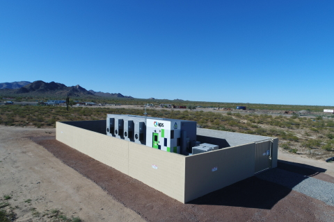 Instead of rebuilding about 20 miles of transmission and distribution poles and wires, Arizona Public Service Co. will install two battery storage systems in rural Punkin Center, Arizona, making it one of the first electricity companies in the nation to use batteries in place of traditional infrastructure. The two 4-megawatt-hour (MWh) Advancion® batteries are made by AES Energy Storage, and are similar to those pictured, which are currently in use by APS. Construction on the project will begin in fall 2017. (Photo: Business Wire)