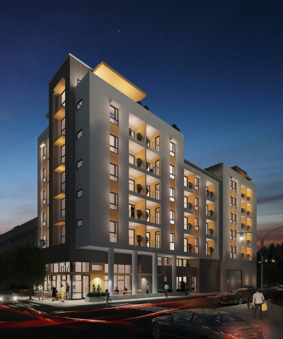 A photo rendering of the mixed-use development being built at 1317 Hope Street, Los Angeles (Photo: Business Wire)