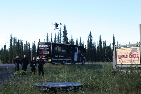 Explorer150 Launches: A History Making Moment. Beavercreek, Yukon: Explorer150, Canada's first cross-country streamed drone journey, embarked on the first leg of its 11,000 km trip. Canadians interested in following can visit www.macleans.ca/duracelldrone. (Photo: Business Wire)