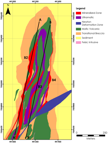 Figure 1: Boston plan view illustrating the general geological setting and location of the B2, B3 an ...