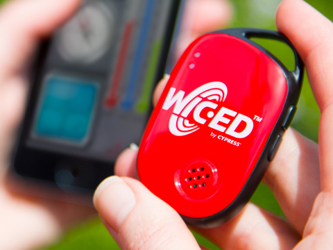 Pictured is Cypress' WICED development kit for Internet of Things applications. (Photo: Business Wire)