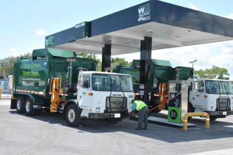 A Waste Management Clean 'N Green public fueling station in Pompano Beach offers commercial fleet ve ...