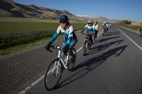 Zakia Mohammadi (pictured here in lead) is the founder of the first female cycling team in Bamiyan, Afghanistan. The image is part of #DreamBigPrincess, a global photography campaign celebrating inspiring stories from around the world to encourage kids to dream big. Social support for the campaign will drive donations to the United Nations Foundation's Girl Up program. (Photo: Paula Bronstein)