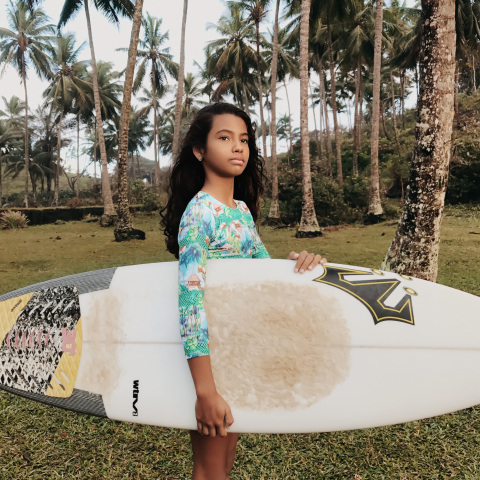 11-year-old Sol Silva (pictured here) is often the youngest competitor in surf championships in her region. Sol dreams big, and aims to become the first female world champion surfer from Brazil. The image is part of #DreamBigPrincess, a global photography campaign celebrating inspiring stories from around the world to encourage kids to dream big. Social support for the campaign will drive donations to the United Nations Foundation's Girl Up program. (Photo: Luisa Dorr)
