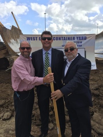 (Left to Right) Jeff Davis, Port Houston Chief Port Operations Officer; Greg Linbeck, Terminal Link Texas (TLT); and Marius Scintee, CMA CGM. (Photo: Business Wire)