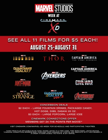 Cinemark Offers Fans an Exclusive XD Experience: Marvel Studios Week August 25-31 (Graphic: Business ...