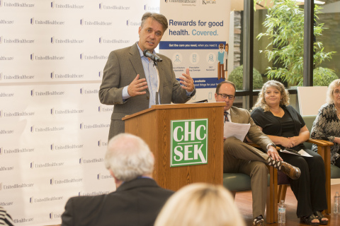 Lt. Gov. Jeff Colyer addressed the crowd during the presentation of two Frontier Rural Health Care grants to Community Health Center of Southeast Kansas and Southeast Kansas Independent Living Center in Pittsburg, Kansas on Aug. 16, 2017. UnitedHealthcare Community Plan of Kansas CEO Kevin Sparks, Southeast Kansas Independent Living Center CEO and President Shari Coatney and Community Health Center of Southeast Kansas CEO and President Krista Postai look on (Photo: Mark McDonald Photography).