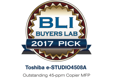 Toshiba Tec Corporation announces that its e-STUDIO4508A has earned Keypoint Intelligence - Buyers Lab's Summer 2017 Pick. (Graphic: Business Wire)