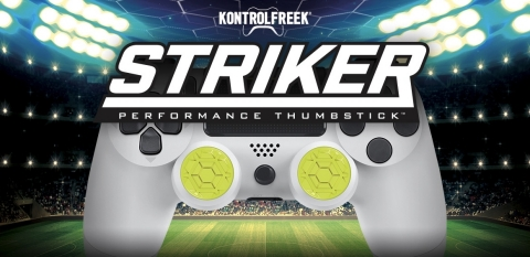 KontrolFreek® veröffentlichte heute den KontrolFreek Striker, einen Performance Thumbstick™, der die Präzision und Spielerfreundlichkeit in Sportspielen verbessert, beispielsweise in der FIFA-Serie von Electronic Arts (EA), der Rocket League-Serie von Psyonix und der Pro Evolution Soccer-Serie (PES) von Konami. (Photo: Business Wire)