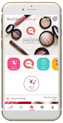 YouCam Makeup teams up with QVC for its first ever TV-mobile AR shopping experience. (Graphic: Business Wire)