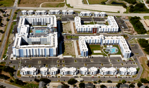 Aerial photo of the 50-acre, 3,406-bed student housing development The Weitz Company built on the campus of Texas A&M University. (Photo: Aerial Experts)