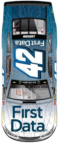 Kyle Larson's No. 42 Chevrolet SS with First Data branding (Photo: Business Wire)
