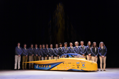The University of Michigan Solar Car team at the unveiling of its current vehicle, Novum. (Photo: Business Wire)