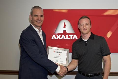 Theodore Hammer, 2017 PCI/Axalta Scholarship Winner receives award from Michael K. Bollan, Axalta Business Director, Powder Coatings-Americas. (Photo: Axalta)