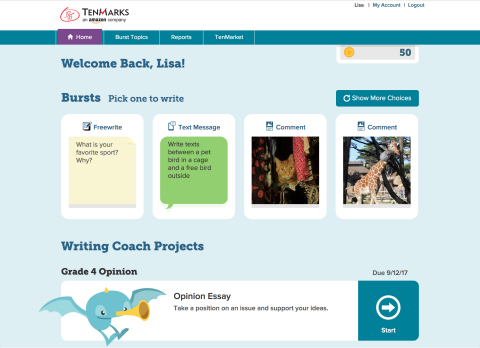 To ignite student creativity, TenMarks taps into short writing formats many students are familiar with from mobile apps. With Bursts, students can choose to comment on an interesting picture, create a story around two characters texting each other, and more. (Graphic: Business Wire)