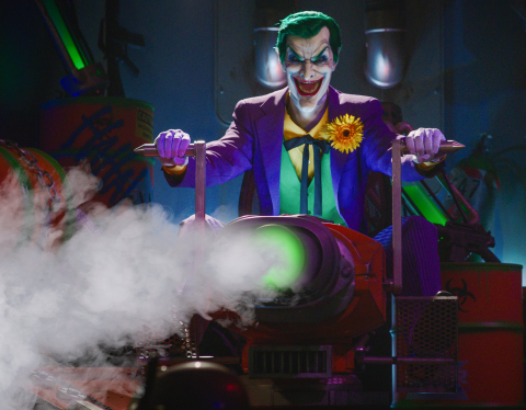 """The Joker awaits guests on the JUSTICE LEAGUE: Battle for Metropolis ride at Six Flags Magic Mountain.  The undisputed """"Thrill Capital of the World"""" offers 365-days of thrills January 2018. (Photo: Business Wire)"""