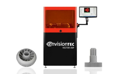 EnvisionTEC launched its 3SP technology in 2013 and it continues to gain popularity in the manufacturing market because it is faster and more affordable than traditional SLA systems for 3D printing in large build areas. Here, the Vector 3SP is shown with parts printed in EnvisionTEC's popular ABS Flex Gray material. A new castable material under development with Somos is slated to be available by year's end. (Graphic: Business Wire)