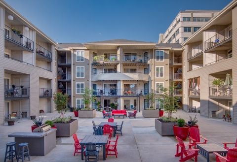 Amenities include five courtyard areas at The Citizen at Shirlington Village, a 404-unit apartment community near Arlington, Va., which was acquired by Waterton.  (Photo: Business Wire)