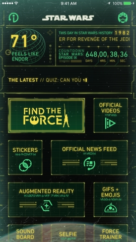 Disney and Lucasfilm today announced Find the Force, a global augmented reality (AR) event rolling out for Force Friday II (September 1-3) to commemorate the worldwide launch of new products inspired by Star Wars: The Last Jedi. Fans should download the Star Wars App before heading to more than 20,000 retail locations worldwide to participate. See more at: www.starwars.com/findtheforce, #FindtheForce and #ForceFriday (Graphic: Business Wire)