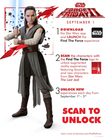 Download the Star Wars app and use the Find the Force feature to scan this image and meet the new Porg characters from Star Wars: The Last Jedi in augmented reality. Find the Force, a global augmented reality (AR) event rolling out for Force Friday II (September 1-3), will commemorate the worldwide launch of new products inspired by Star Wars: The Last Jedi. Fans should download the Star Wars app before heading to more than 20,000 retail locations worldwide to participate. See more at: www.starwars.com/findtheforce #FindtheForce #ForceFriday (Graphic: Business Wire)
