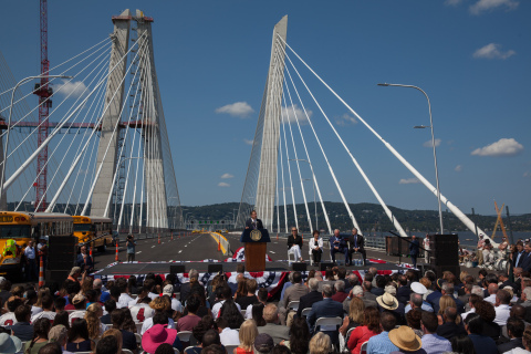 New York Governor Andrew Cuomo opens the first span of the Governor Mario M. Cuomo Bridge crossing the Hudson River between Westchester and Rockland counties. (Photo: Business Wire)