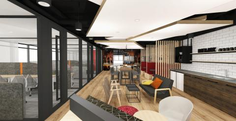Compass Offices opens a new co-working space in Singapore Land Tower featuring highly individualised workspaces, warm tones, cozy nooks, breakout zones, lightning-fast Internet and access to business experts from around the block and around the globe. (Photo: Business Wire)