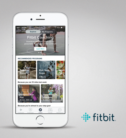 Fitbit's new premium guidance and coaching offering launches with Fitbit Coach, Audio Coaching sessions and Guided Health Programs which offer dynamic, personalized and goal-based curriculums to drive positive health outcomes. (Photo: Business Wire)