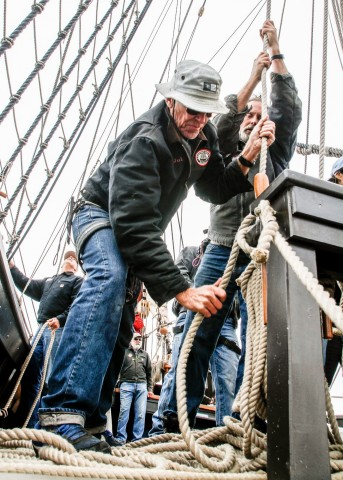 Set a course for discovery. Sail maneuvers on the 1542 galleon replica San Salvador require focus, strength and team work. Passengers are welcome to lend a hand or relax. 4-hour day sails or adventures at sea. Learn more at sdmaritime.org. (Photo credit: Ted Walton)