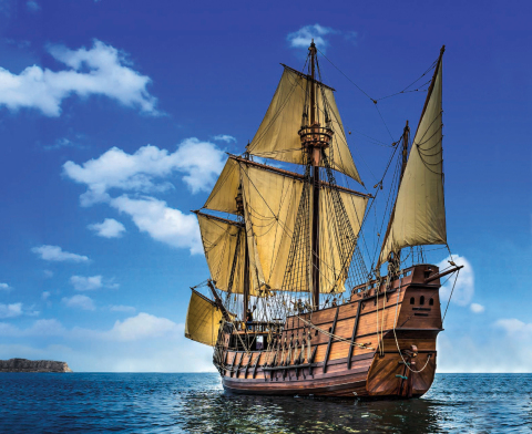 Full-scale 1542 galleon replica San Salvador sets sail for Los Angeles Maritime Museum. The next stop on Maritime Museum of San Diego's 2017 Pacific Heritage Tour Adventure. (Photo credit: Jerry Soto)