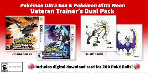 This dual pack, which will be available at select retailers, includes both the Pokémon Ultra Sun and Pokémon Ultra Moon games for the Nintendo 3DS family of systems, as well as 16 art cards. (Graphic: Business Wire)