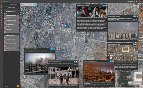 The BlackSky platform helps customers observe, analyze, and act on events critical to their global operations. The picture shows civilian evacuations in Aleppo, Syria with real-time, related social media data streams from the area to provide greater context. (Photo: Business Wire)