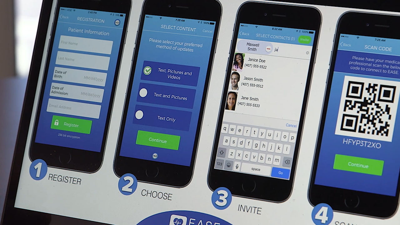 Kony customer EASE Applications provides secure, real-time communications on surgical procedures to patients' families.