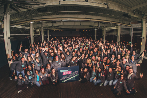 The WP Engine team celebrates its 2017 kickoff event in Austin, Texas. The company recently surpassed 70,000 global customers and achieved one million chats from its 24/7 efforts to help drive its customers' businesses forward faster. (Photo: Business Wire)