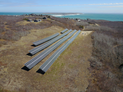 Solar Design Associates of Harvard, Massachusetts, designed and installed this 1,020-panel solar array and a 1 MW energy storage system that have delivered over 50% of the electricity this summer for Cuttyhunk Island, Massachusetts. (Photo: Business Wire)