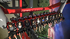 HARLEY QUINN Spinsanity, at Six Flags Over Texas, features a unique futuristic triple box design that will give riders a thrilling and unprecedented combination experience of negative and positive gravitational forces.