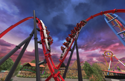 Dueling trains flyby one another on Harley Quinn Crazy Coaster, taking thrills to a whole new level. (Photo: Business Wire)