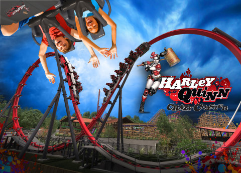 Harley Quinn Crazy Coaster is an epic, dueling adventure with its intense flyby moments and head-over-heels inversions. (Photo: Business Wire)