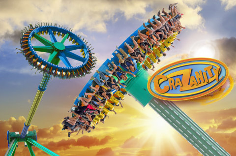 CraZanity, the world's tallest pendulum ride debuts at Six Flags Magic Mountain in 2018. (Photo: Business Wire)